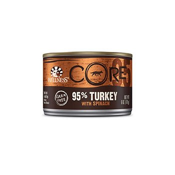 Wellness CORE 95 Adult Canned Dog Food 6 oz. Turkey & Spinach Case of 24 (95% Wellness Turkey)