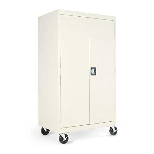 Alera ALECM6624PY Mobile Storage Cabinet, w/Adjustable Shelves 36w x 24d x 66h, Putty by Alera