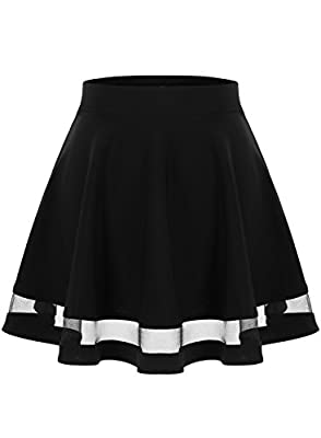Wedtrend Women's Basic Versatile Stretchy A-line Flared Midi Skirt