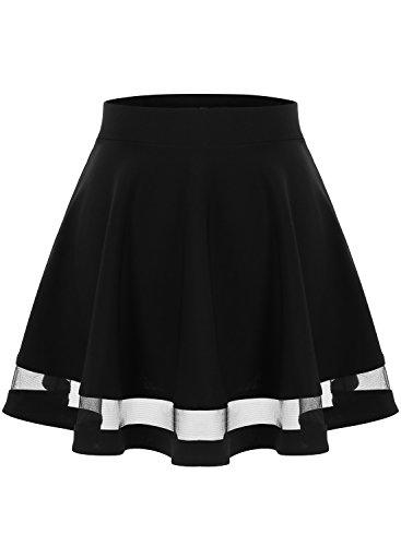 Wedtrend Jupe Mini Courte vase Rtro Jupe Basique Plisse Patineuse Fille/Femme Elastique, Taille S-XXL Noir