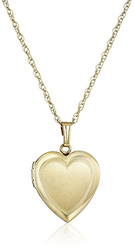 14k Yellow Gold-Filled Engraved Heart Locket Necklace, 18