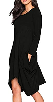 Ladylala Women's Long Sleeve Pockets Loose Casual Dress