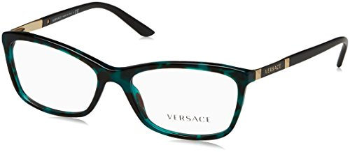 - Versace VE3186 Eyeglass Frames 5076-54 - Green Havana Transp VE3186-5076-54