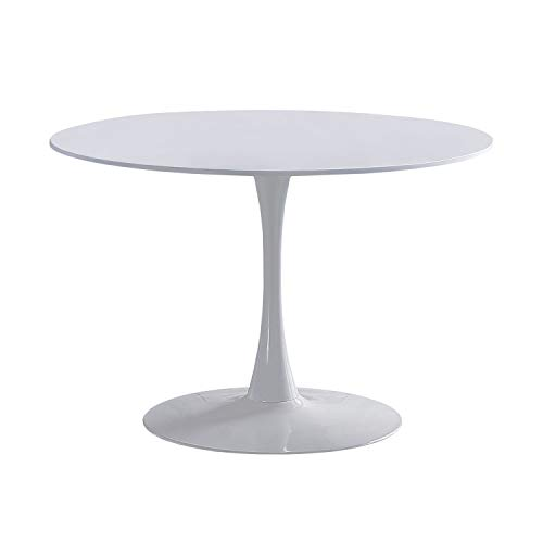 Adec - Gina, Mesa Redonda de Comedor, Salon, Cocina o Auxiliar, Acabado en Lacado Blanco, Medidas: 75 cm (Alto) x 110 cm (diametro)