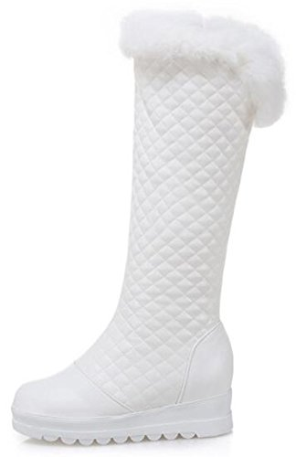 Low Platform the Snow Round Wedge Warm Mofri Fur Women's Fluffy Side Heel Toe Boots White Knee Faux Zipper Under Plaid High gwqpS8PAq