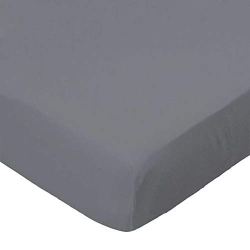 SheetWorld Fitted 100% Cotton Percale Square Playard Sheet Fits Joovy 37.5 x 37.5,Dark Grey Woven,Made In USA [並行輸入品]   B077YTQD7Z