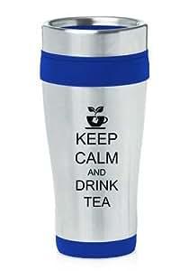 Blue 16oz Insulated Stainless Steel Travel Mug Keep Calm and Drink Tea