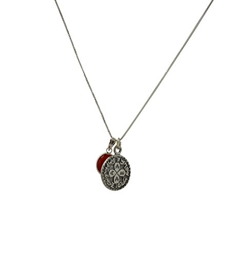 Silver Love Solomon Seal Coin Amulet and Evil Eye on Sterling Silver Necklace for Men and Women - 19 Inch Length