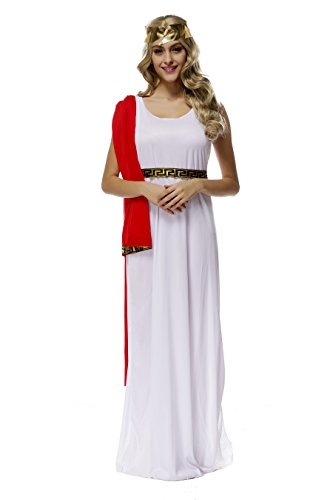 Women's Greek Maxi Goddess Dress Stage Show Costume Performance Cloth (White-Red)