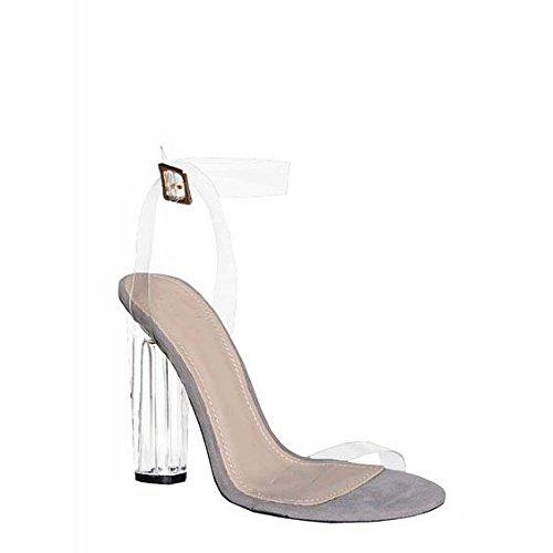 Sandalia de tacón grueso de PVC transparente de la manera simple y transparente con sandalias sandalias de tacón grueso gray