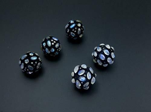 1526ebbbd Amazon.com: Natural Labradorite Silver Spacer Bead With Diamonds ...