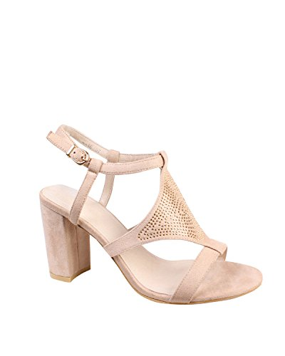 JEZZELLE - Sandalias de vestir para mujer color carne