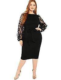Women's Plus Size Elegant Mesh Contrast Pearl Beading Sleeve Stretchy Bodycon Pencil Dress