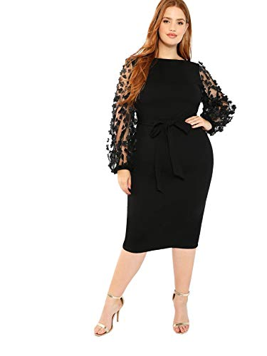 SheIn Women's Plus Size Elegant Mesh Contrast Pearl Beading Sleeve Stretchy Bodycon Pencil Dress Black# 1X-Large