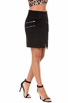Zeagoo Women's High Waist Corduroy Faux Wrap Slit Solid Mini Sheath Wear to Work Skirt