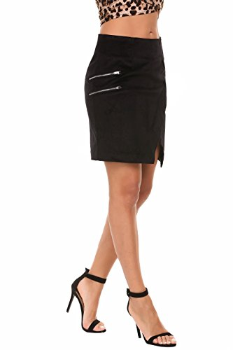 Zeagoo Women's High Waist Corduroy Faux Wrap Slit Solid Mini Sheath Wear to Work Skirt