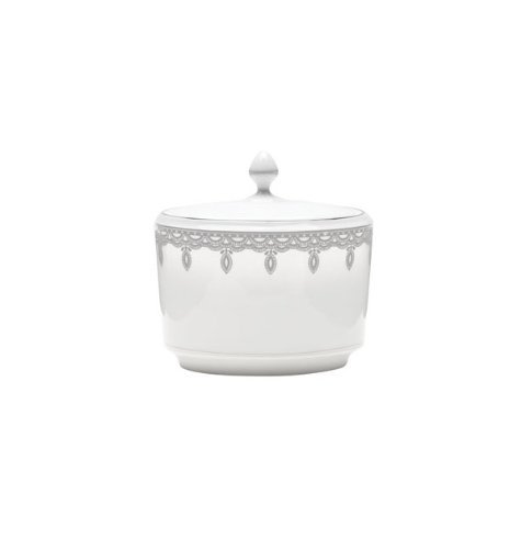 Sugar Covered Waterford Bowl - Lismore Lace Platinum Sugar Bowl with Lid