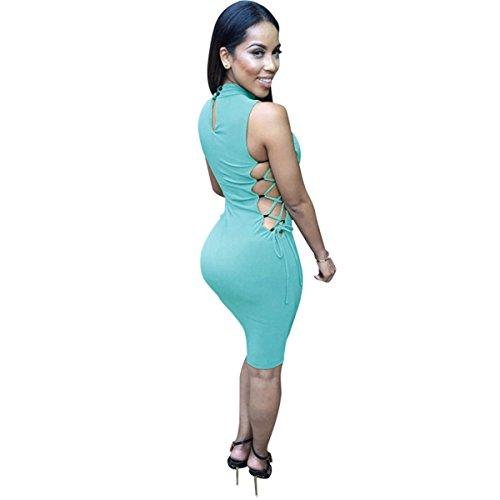 Sans Manches Sexy Femme Mince Partie Moulante Robes De Bandage Clubwear Cyan