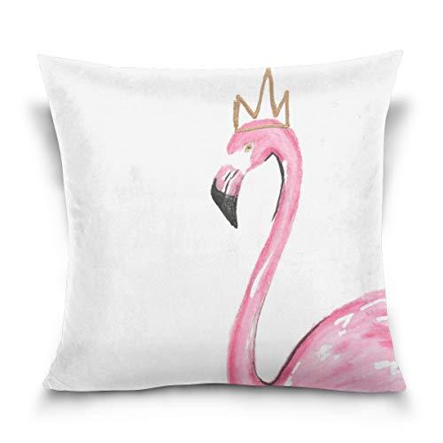 Aibileen Queen Tropical Flamingo Summer Velvet Supersoft Throw Pillow Case Square Toss Decor for Sofa Bedroom Car 18x18 -
