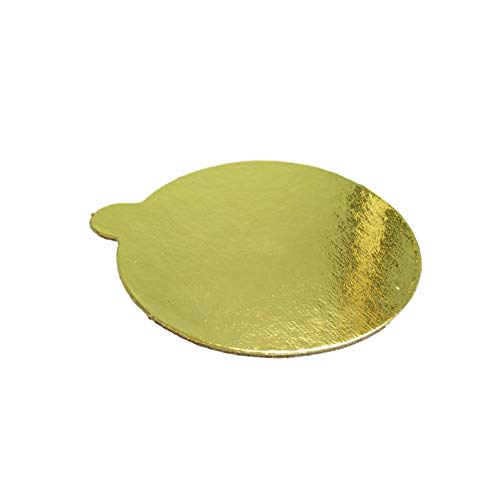 MT Products 4 inch Round Gold Cake/Pastry Dessert Board with Tab (48 Pieces)