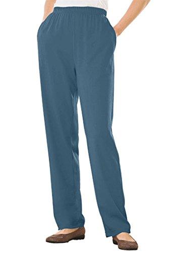 Woman Within Women's Plus Size Straight Leg 7-Day Knit Pants Antique Blue,1X
