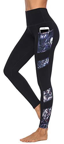 Persit Damen Sport Leggings, Hochwertige 3D-Druck Sporthose mit Taschen