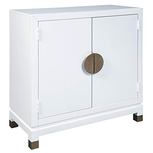 Ashley Furniture Signature Design - Walentin 2-Door Accent Cabinet - Contemporary - White Finish - Gold Finished Metal Doors/Feet