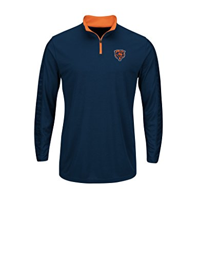NFL Men's Synthetic Marked For Victory 1/4 Zip Top  Chicago Bears Traditional Navy-Classic Orange-Small