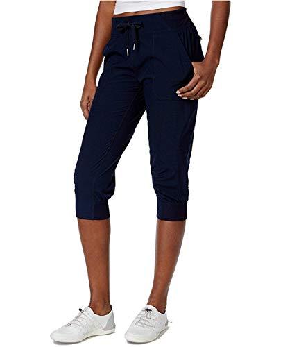 Calvin Klein Performance Women's Cuffed Stretch Woven Capri Pants (Large, Navy)