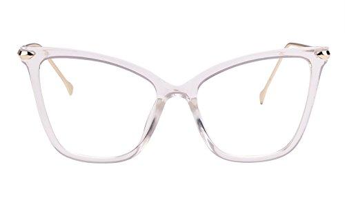 Beison Womens Cat Eye Transparent Frame Mod Sunglasses ()
