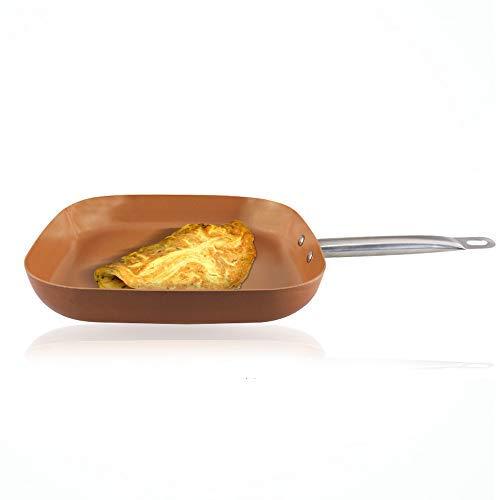 Sartén cuadrada antiadherente para inducción de cobre, 30,5 cm: Amazon.es: Hogar