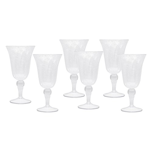 Clear Acrylic Goblets, Decorative Wine Glasses for Weddings, Birthdays, and Everyday Use, Set of 6 (Acrylic Glasses Bubble)