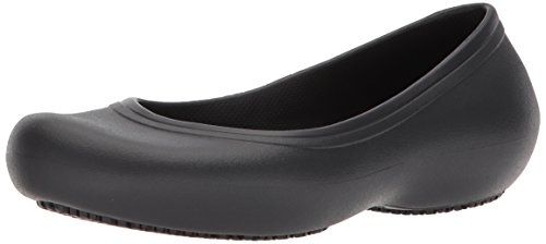 Crocs Women's Kad2workflatw Food Service Shoe, Black, 8 M US (Crocs Women Flat Shoes)