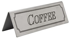 Brushed Stainless Steel Coffee Table Sign 3465 by Glitz Distribution