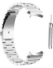 WSTERAO Band kompatibla för Samsung Galaxy Watch4 40/44 mm galaxklocka 4 klassiska 46 mm/42 mm rostfritt stål armband ersättning kvinnor män små