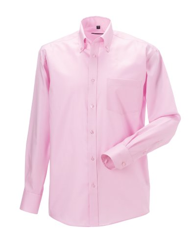 Russell Sammlung Langarm ultimative bügelfreie Hemd Klassisches rosa 14.5