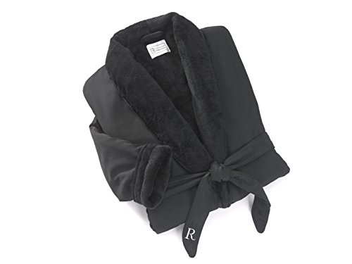 icrofiber Robe with Velour Lining and a Shawl Collar - Jet Black with