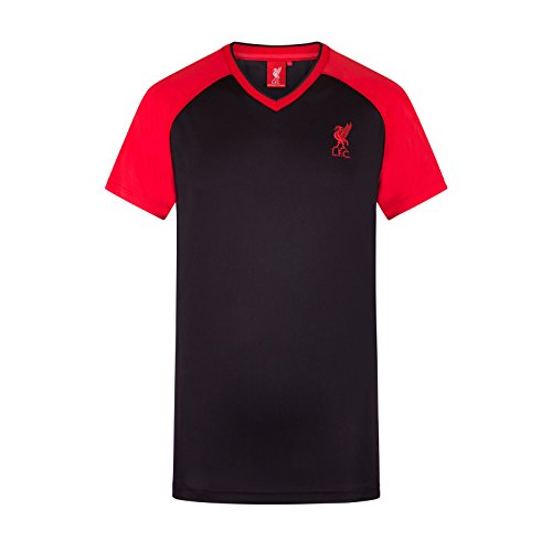 Fc Training Kit (Liverpool FC Official Gift Mens Poly Training Kit T-Shirt Black V Neck Large)