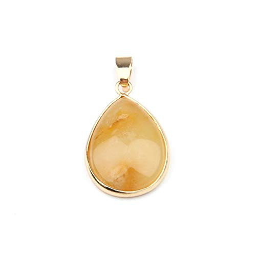 (Natural Stone Pendant Water Shape Pendants Agates/RoseQuartz/Tiger Eye Charms for Necklaces Jewelry Making 3.5x2.4x0.7cm - Yellow Jade)