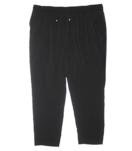 Calvin Klein Women's Plus Drawstring / Elastic Waist Casual Pants 2x Black