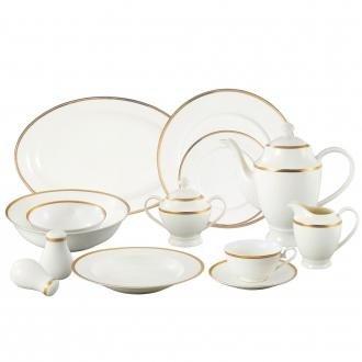 Greek Key Salad Plate - Lorren Home Trends La Luna Collection Bone China 57-Piece 24K Gold Greek Key Design Dinnerware Set, Service for 8