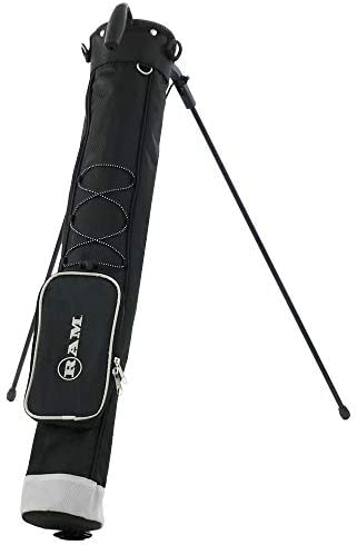 Ram Golf Pitch and Putt Lightweight Golf Carry Bag with Stand Black Silver