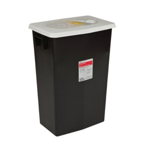 Covidien 8618RC SharpSafety RCRA Hazardous Waste Container with Slide Lid, 18 gal Capacity, Black (Pack of 5)