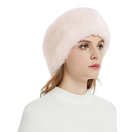 Faux Fur Headbands Outdoor Ear Warmers Earmuffs Ski Hat Winter Warm Elastic Hairbands Head Wraps for Women by Aurya(Light Pink)
