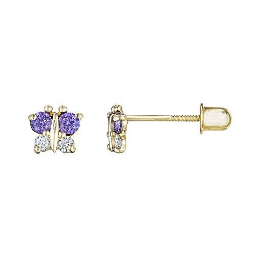 (14kt Solid Gold Kids Butterfly Stud Screwback Earrings - Purple)