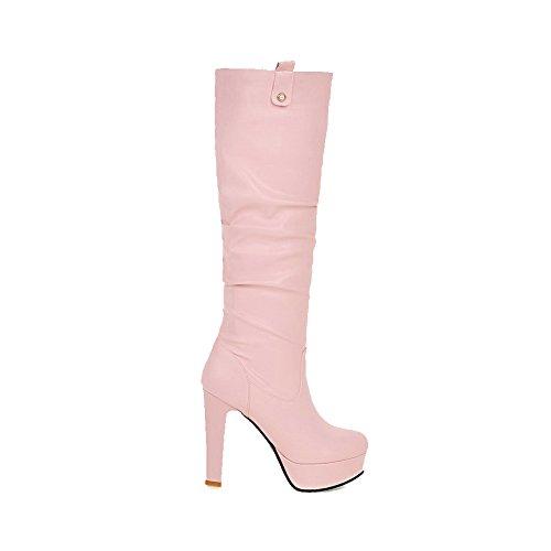 AllhqFashion Mujer Puntera Redonda Tacón Alto Material Suave Sólido Sin cordones Botas Rosa