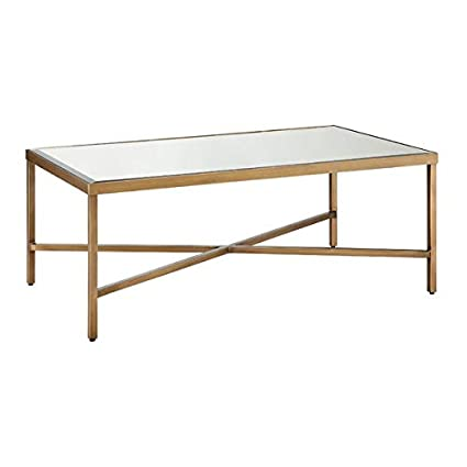 Amazoncom Metal Coffee Table With Mirrored Top Rectangular