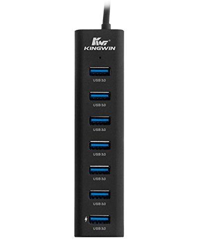 Kingwin USB Hub 7 Port USB 3.0 Data Hub Aluminum for Mobile SSD, Macbook, Mac Pro/Mini, iMac, Chromebook, Surface Pro, USB Flash Drives, Notebook PC, XPS, and More. Include 1 IQ Smart Charging Port by Kingwin