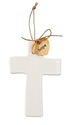 Small Ceramic Cross - Mud Pie Ceramic Cross Sentiment Decorative Ornament,
