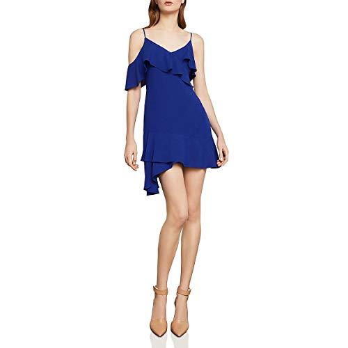 BCBG Max Azria Womens Easy Cold Shoulder Asymmetric Mini Dress Blue 6